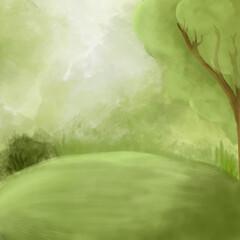 Printed roller blinds Forest Fantasy green landscape background