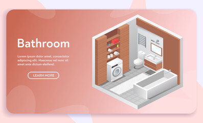 Vector banner of bathroom interior in isometric view