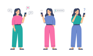 Smiling girl sends messages via smartphone. Young happy woman uses mobile phone for the call. Mobile internet communication, social media chatting, instant messaging. Vector illustration.