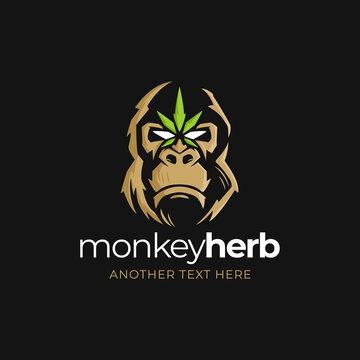 Monkey with Cannabis Leaf Logo