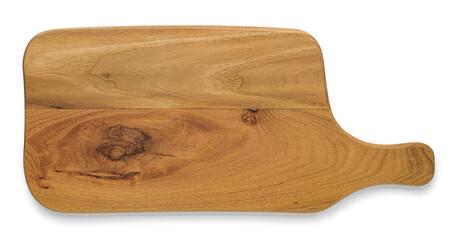 Obraz Deska do krojenia lub serwowania potraw na białym tle. Z naturalnego drewna tekowego - fototapety do salonu