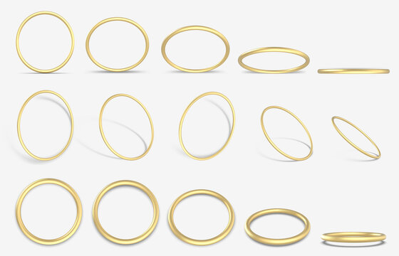 Realistic golden 3D ring. Gold decorative geometric round rings, 3d yellow gold metallic rings vector illustration icons set. Golden ring realistic, bright jewelry, luxurious glowing