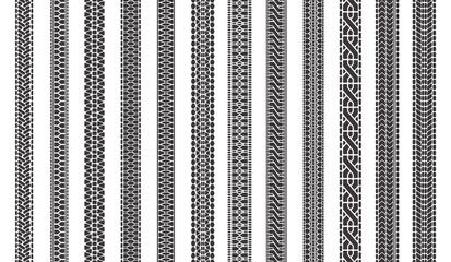 Car tire tracks. Automobile tires tread tracks, tire texture treads, vehicle tire marks isolated symbols illustration set. Automobile truck pattern, imprint tread