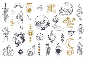 Witch magic symbols. Doodle esoteric, boho mystical hand drawn elements, magic witchcraft crystal, eyes, moon vector illustration icons set. Tattoo alchemy and esoteric, witchcraft magician