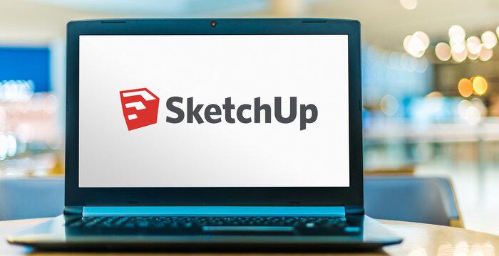 Laptop computer displaying logo of SketchUp