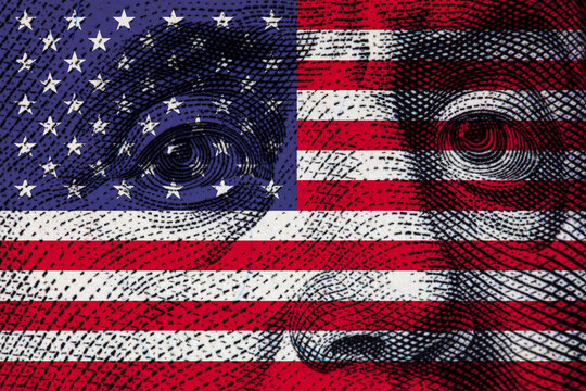 Transparent american flag on 100 dollar bill background
