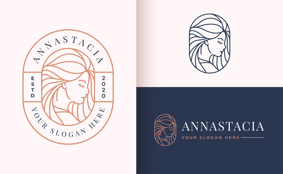Line art floral women logo design