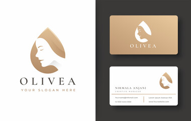 olive oil logo with woman face and business card design