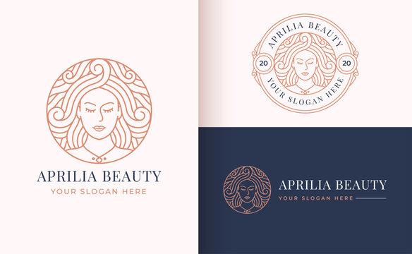 circle badge Line art women logo design