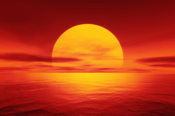Photo sur Toile Rouge red sunset over the ocean