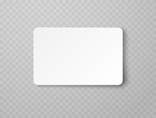 Plastic or paper white business card isolated on transparent background. Vector blank sticker, sheet, label, banner with rounded corners template