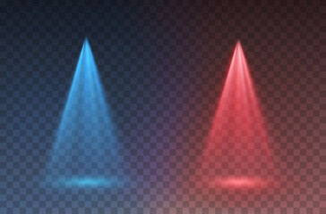 Light scanner or laser effect. Glow vs stage rays isolated on transparent background. Vector red versus blue scene spotlights. Shine projector beam template for battle, game design