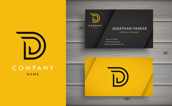 Clean and stylish logo forming the letter D with business card templates. Modern Logotype design for corporate branding.