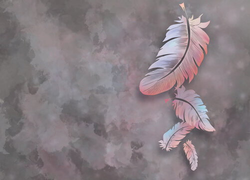Very high resolution wallpaper - grey pink and lila color feather wall art