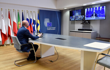 Tripartite Social Summit video conference meeting for Growth and Employment at the EU headquarters in Brussels