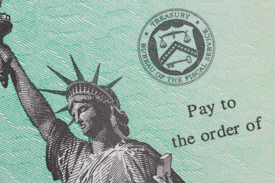 Close up of United States Treasury check