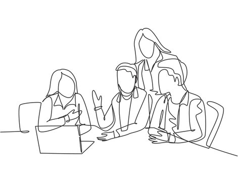 One single line drawing of young business men watching laptop screen during meeting with colleagues at office room. Brainstorming ideas concept. Continuous line draw design graphic vector illustration