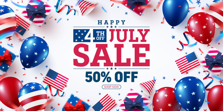 4 th of July Sale poster.USA independence day celebration with many american balloons flag and Bokeh lights.USA 4th of July promotion advertising banner template for Brochures,Poster or Banner