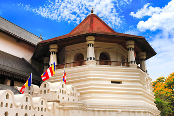 Temple of the Sacred Tooth Relic in Kandy. Landmarks and religious monuments of Sri Lanka