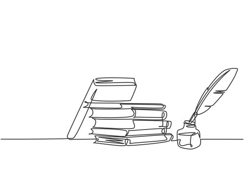 Single continuous line drawing of stack of books, ink and quill pen on the office desk. Old antique writing equipment concept. Modern one line draw design vector graphic illustration