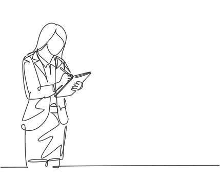 One single line drawing of young happy female business manager holding clipboard and write to do list paper. Job desk checklist concept. Modern continuous line draw graphic design vector illustration