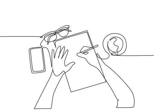One continuous line drawing of hand writing gesture on a piece of paper beside glasses, smartphone and a cup of coffee. Writing business draft concept. Single line draw design vector illustration