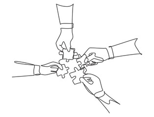 Single continuous line drawing of business team members unite puzzle pieces together to one as team building symbol. Employee teamwork concept. Trendy one line draw design vector graphic illustration