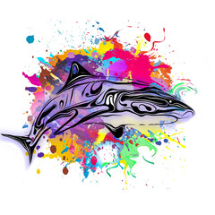 Abstract image of a shark logo