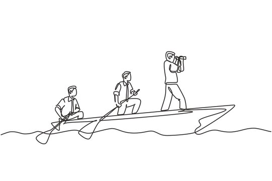 One single line drawing of young male team member take a boat heading to an island while the leader navigate them using binocular. Teamwork concept continuous line draw design vector illustration