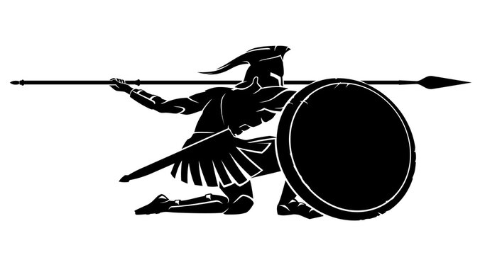 Spartan Crouching Silhouette, Side View