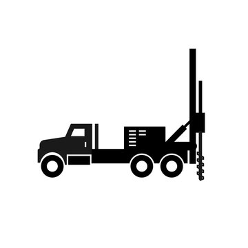 Borewell truck silhouette icon. Clipart image isolated on white background