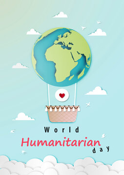 World humanitarian day with air balloon as planet in paper art style vector