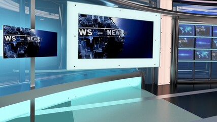 Virtual TV Studio News Set 27-9. 3d Rendering. Virtual set studio for chroma footage. wherever you want it, With a simple setup, a few square feet of space, and Virtual Set, you can transform any loca