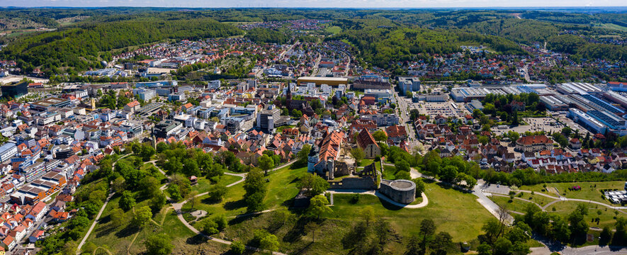 Aerial view of the city Heidenheim in Germany on a sunny spring day during the coronavirus lockdown.