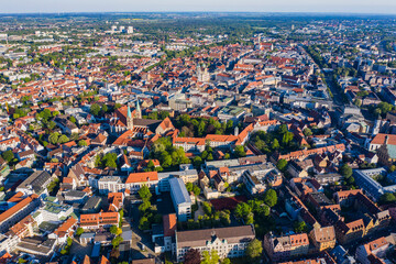 Aerial view of the city Augsburg in Germany, Bavaria on a sunny spring day during the coronavirus lockdown.