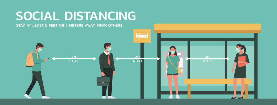 people maintain social distancing to prevent virus spreading and transmission at bus stop, man and woman keep distance from others, new normal concept, vector flat illustration