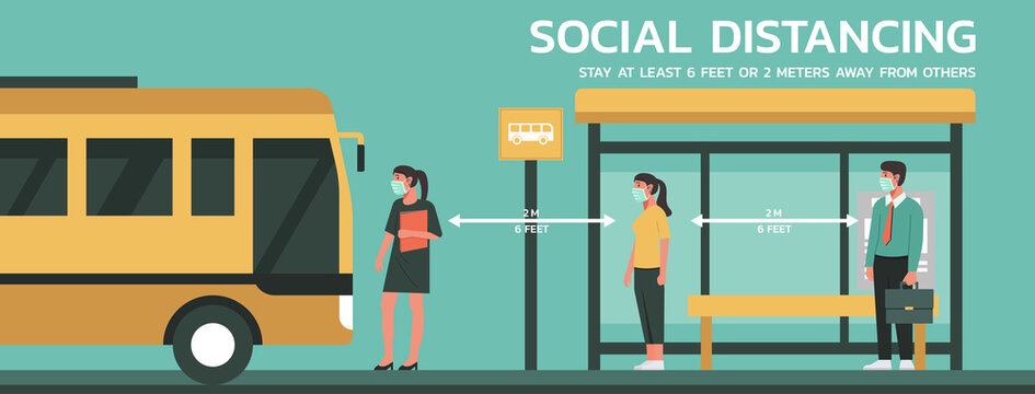 people maintain social distancing to prevent virus spreading and transmission, man and woman keep distance from others at bus stop, new normal concept, flat vector illustration