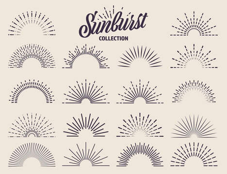 Vintage sunburst collection. Bursting sun rays. Fireworks. Logotype or lettering design element. Radial sunset beams. Vector illustration.