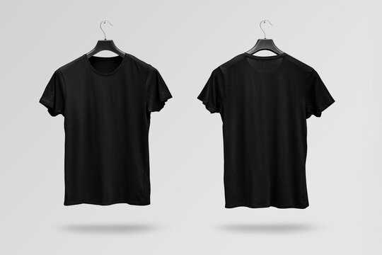 Front and back sides of male black cotton t-shirt on a hanger isolated on white background. T-shirt without print