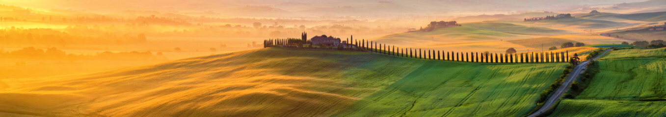 Fototapeten Honig Tuscany landscape at sunrise. Typical for the region tuscan farm house, hills, vineyard. Italy