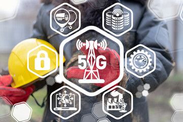 5g Next Generation Mobile Network Connection Industry Concept. Modern Communication Transmission Data Technology.