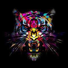 grunge background with graffiti and painted lion