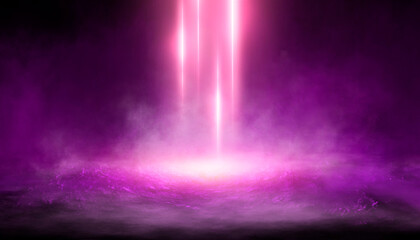 Fototapeten Violett Empty futuristic dramatic scene. Abstract dark landscape, street. Neon light fluid element. Night view, neon purple light. Fantasy background. 3D illustration