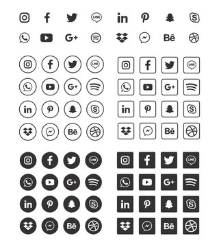 social media icons set. facebook, twitter, instagram, youtube, linkedin, wechat, google plus, pinterest, snapchat isolated on white background.