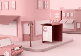 Cartoon City with Bus Stop Advertising Mockup