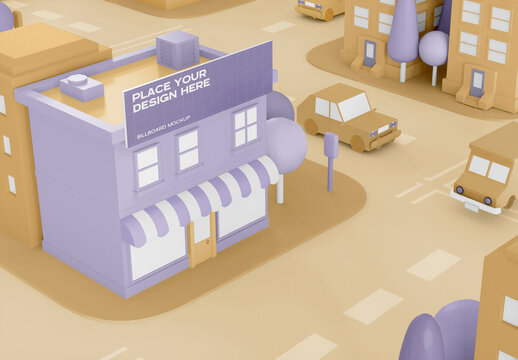 Cartoon City Shop with Advertising Mockup