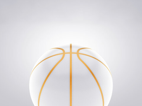 White and gold ball on basketball court on white background