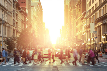 Fotomurales - People walking across a busy intersection with the bright light of sunset in the background - Manhattan, New York City