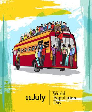 World Population Day, 11 July, Illustration,Poster Or banner Vector illustration.