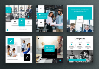 Business Social Media Layouts with Teal Accents